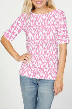 Whimsy Rose Cosmo Pink Ikat - Banded Elbow Sleeve Top - Product List Image