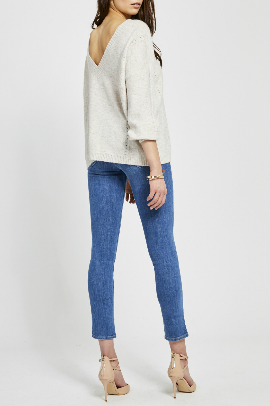Gentle Fawn Cosmo V-Back Pindot Sweater - Side Cropped Image