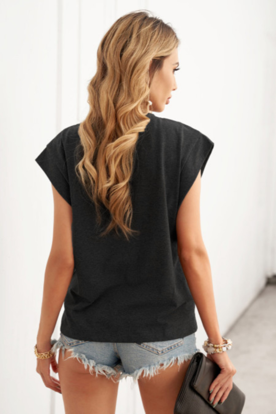 The Emerald Fox Boutique Cotton Blend Round Neck Tee - Front Full Image