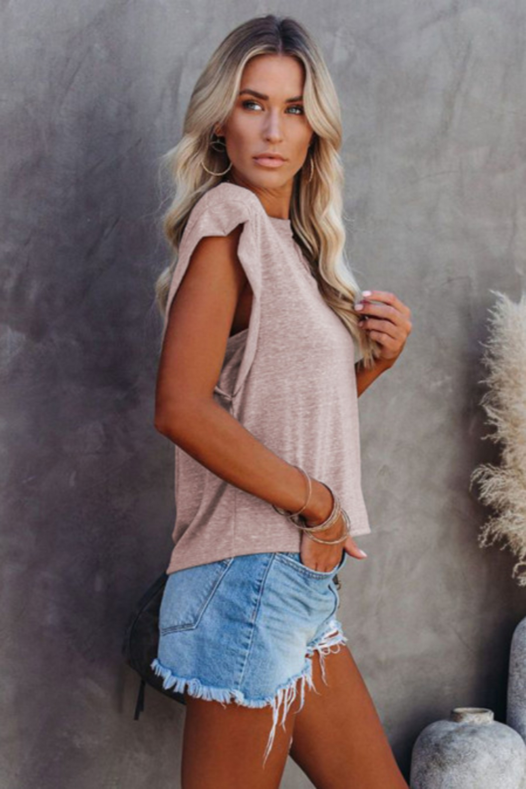 The Emerald Fox Boutique Cotton Blend Round Neck Tee - Side Cropped Image