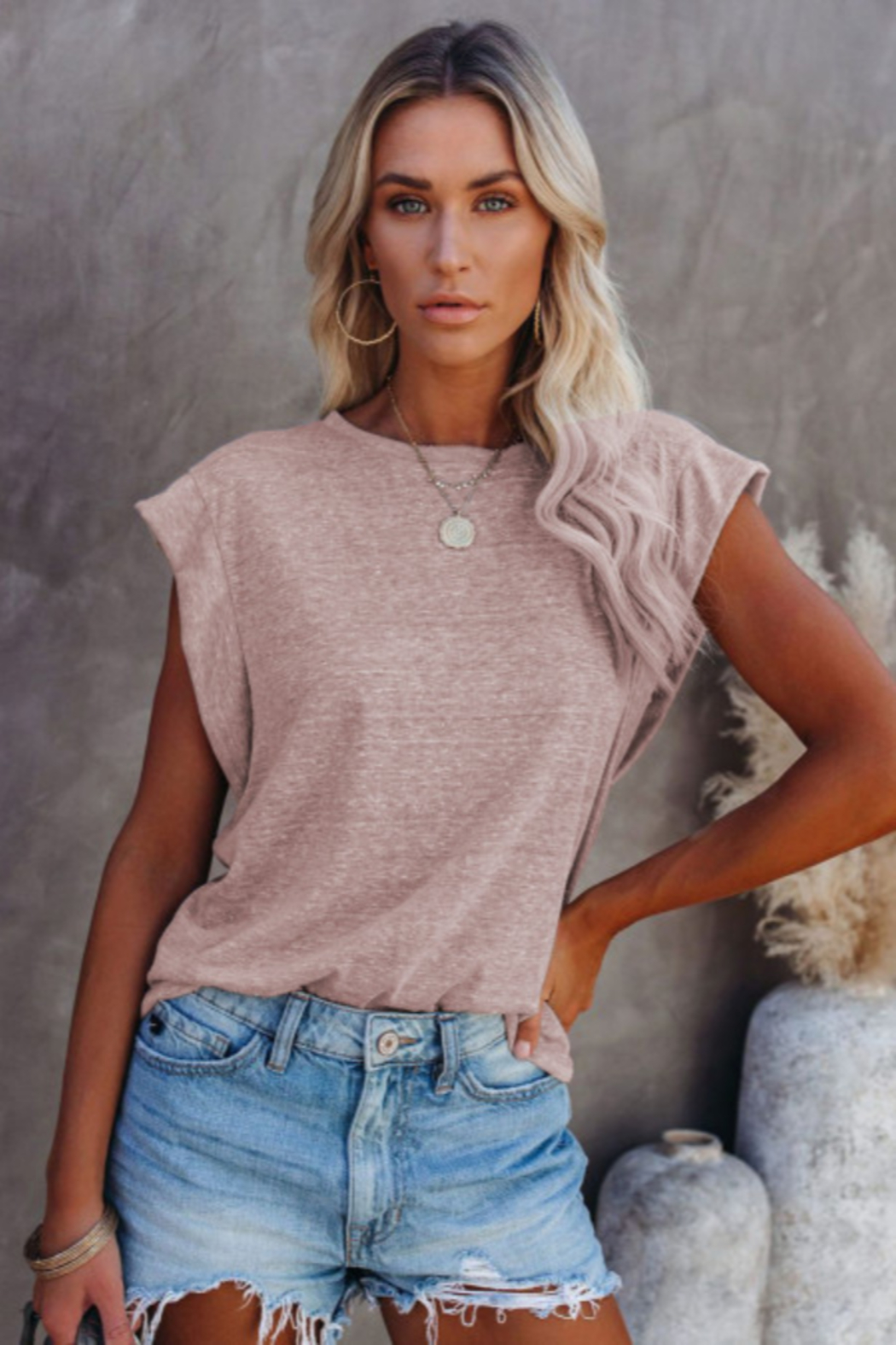 The Emerald Fox Boutique Cotton Blend Round Neck Tee - Front Cropped Image
