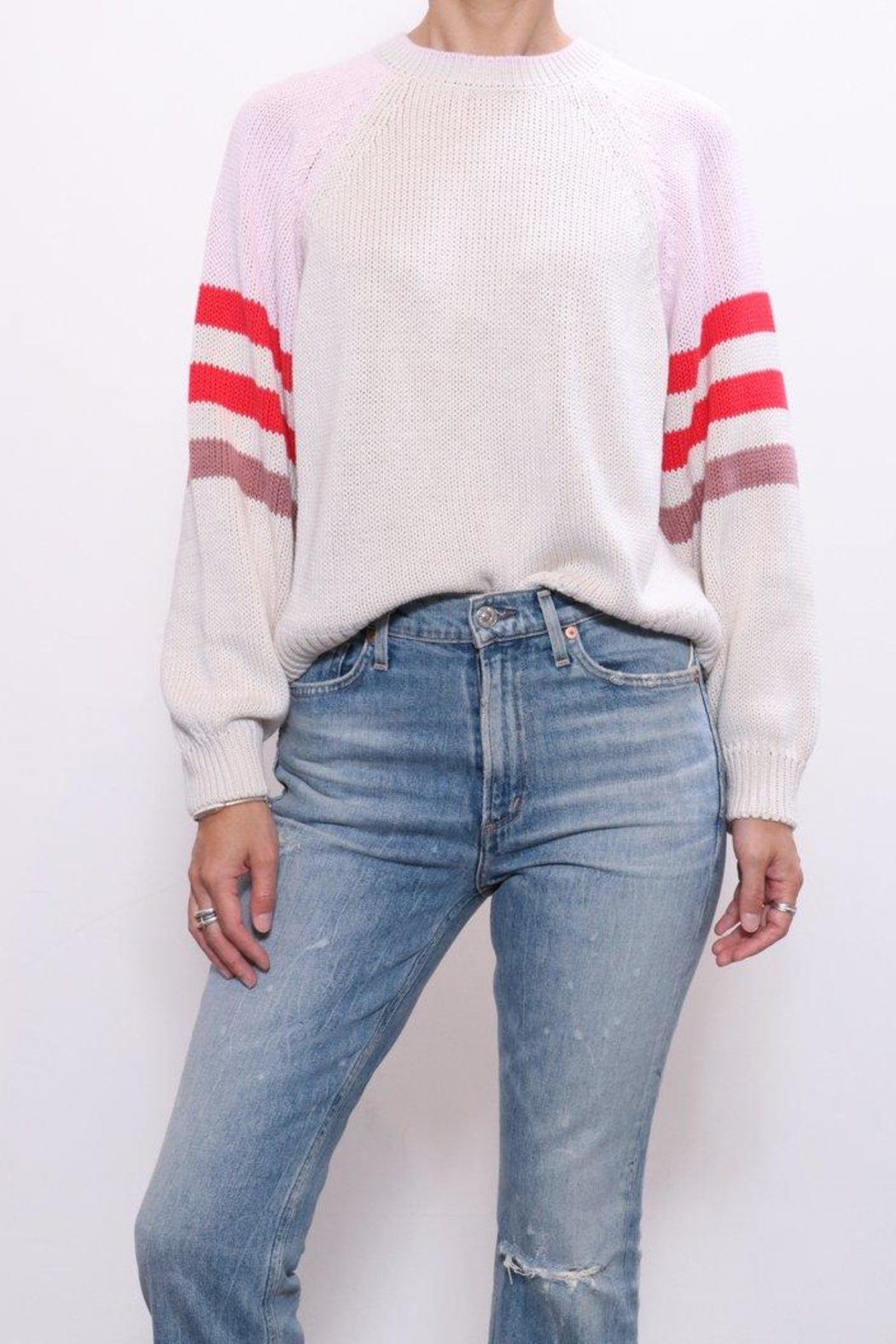 Xirena Cotton Blocked Sweater - Front Full Image