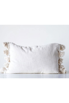 Creative Co-Op Cotton Bolster pillow with tassels Cream - Alternate List Image