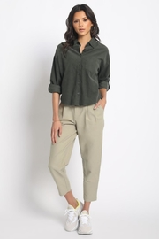 Olivaceous Cotton Button Down - Front full body