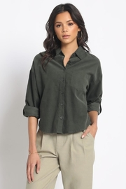 Olivaceous Cotton Button Down - Front cropped