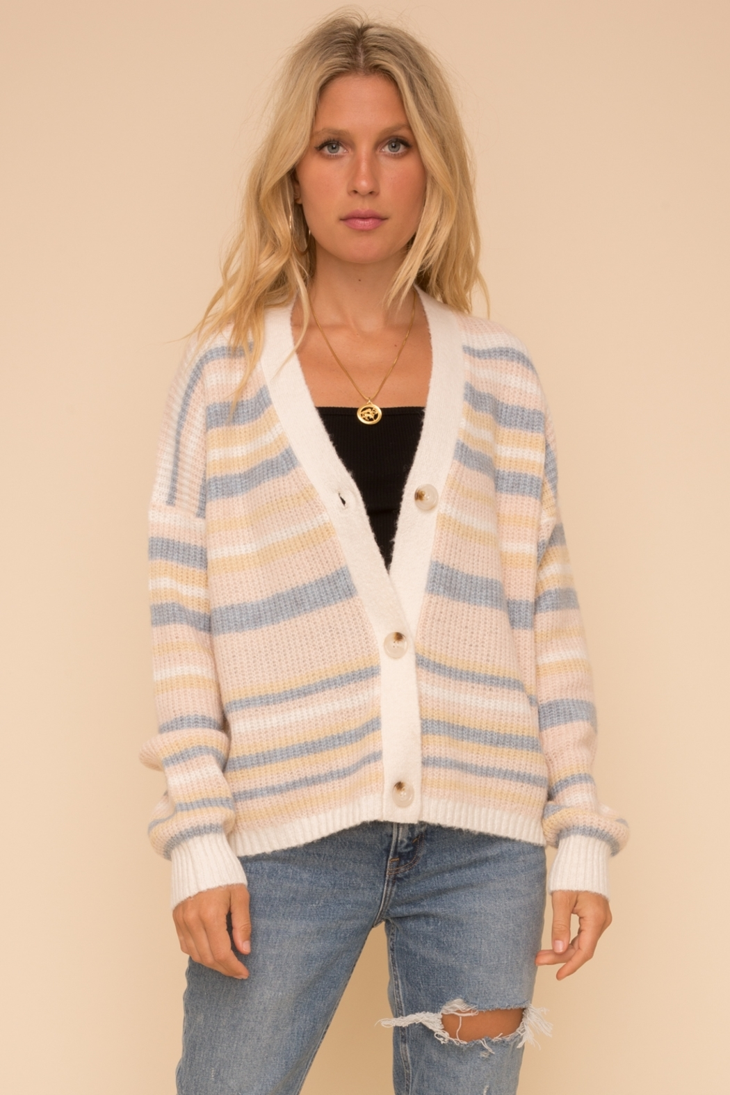 Hem & Thread Cotton Candy Cardigan - Front Cropped Image