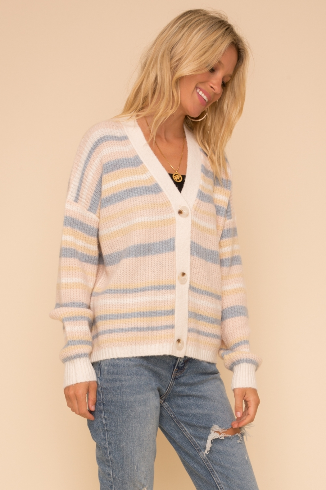 Hem & Thread Cotton Candy Cardigan - Back Cropped Image