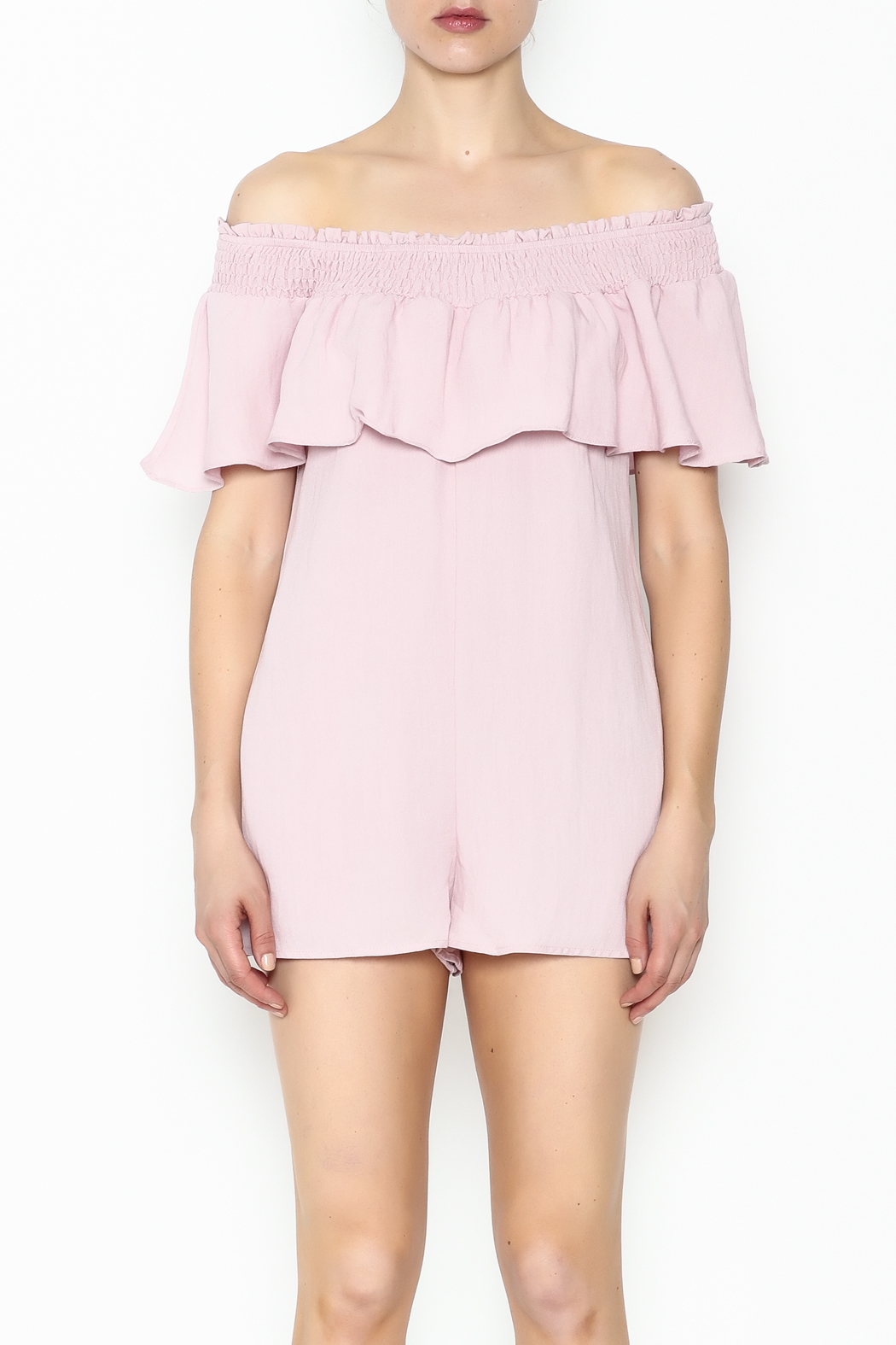 Cotton Candy LA Off The Shoudler Romper - Front Full Image