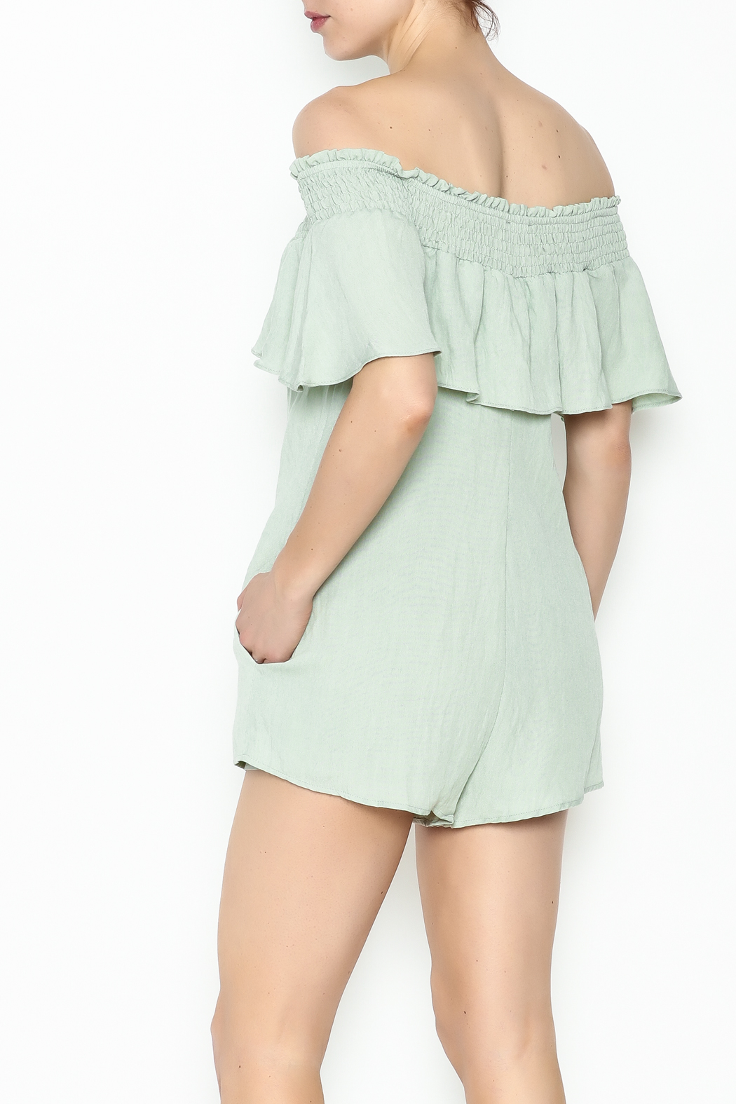 Cotton Candy LA Off The Shoudler Romper - Back Cropped Image