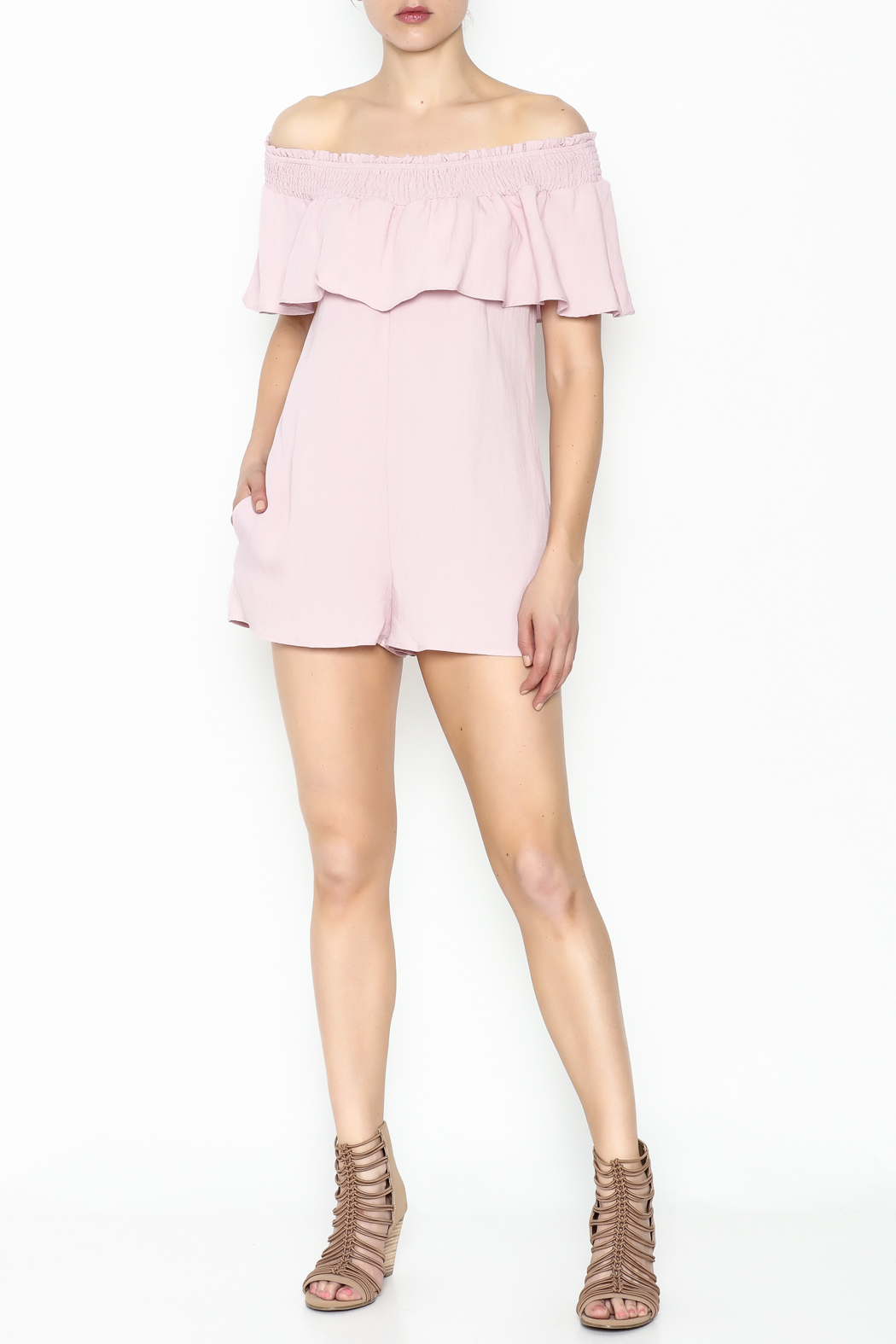 Cotton Candy LA Off The Shoudler Romper - Side Cropped Image