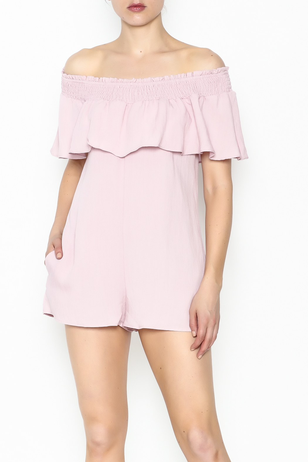Cotton Candy LA Off The Shoudler Romper - Front Cropped Image