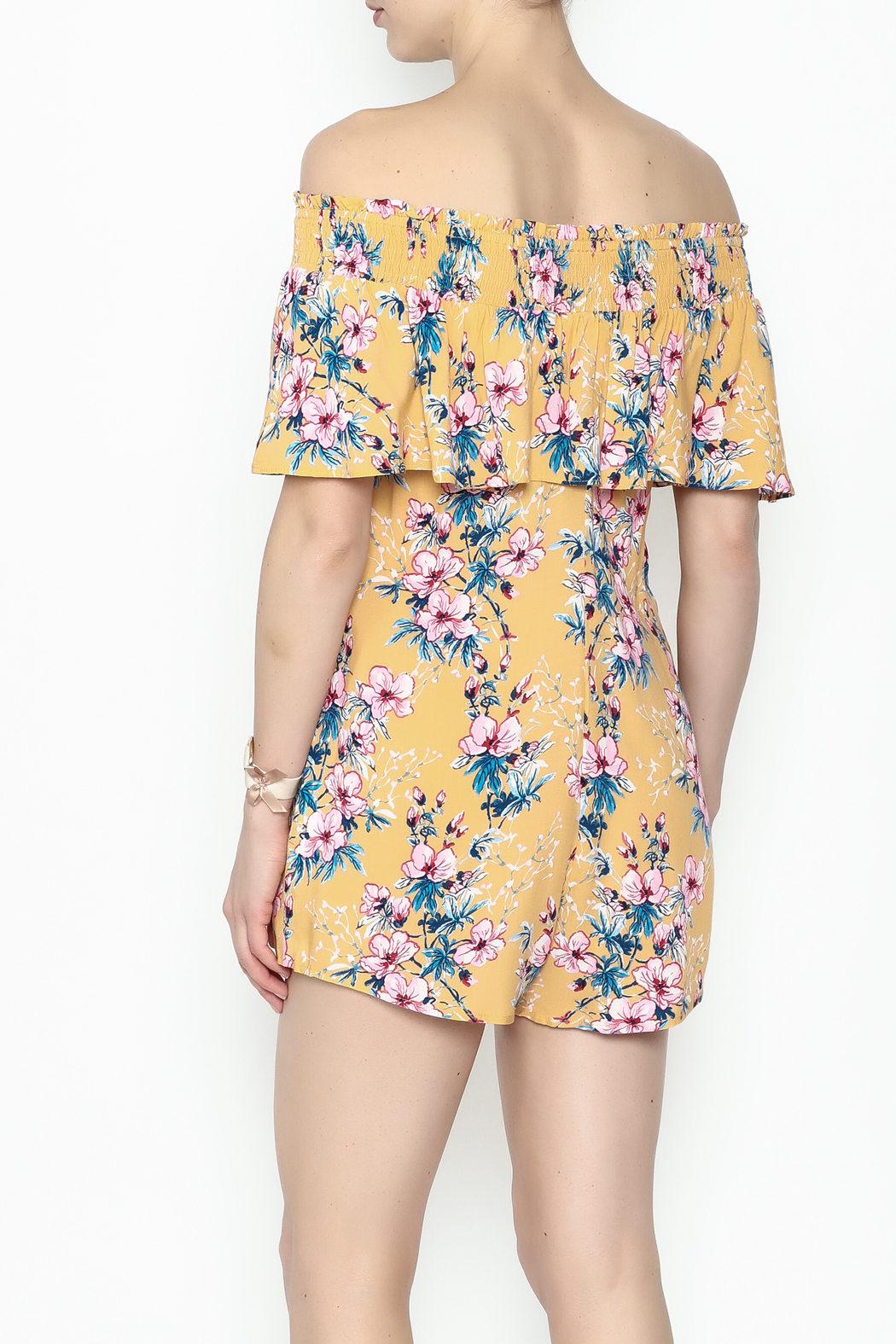 Cotton Candy Tropical Destiny Romper - Back Cropped Image