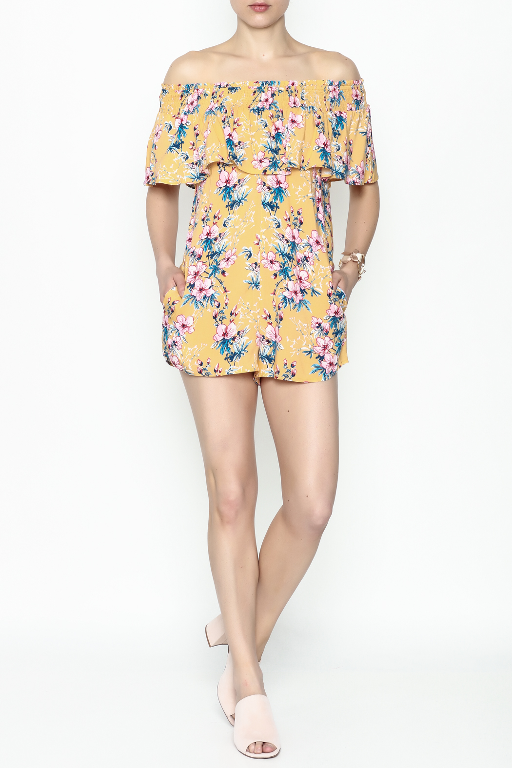 Cotton Candy Tropical Destiny Romper - Side Cropped Image