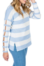 Caroline Grace Cotton Cashmere Chilled Stripe Pullover - Product Mini Image