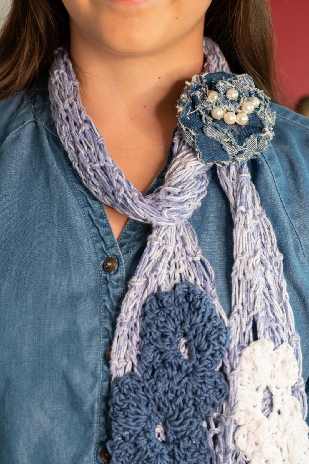Handmade by CA artist Cotton Denim Knit Scarf - Side Cropped Image