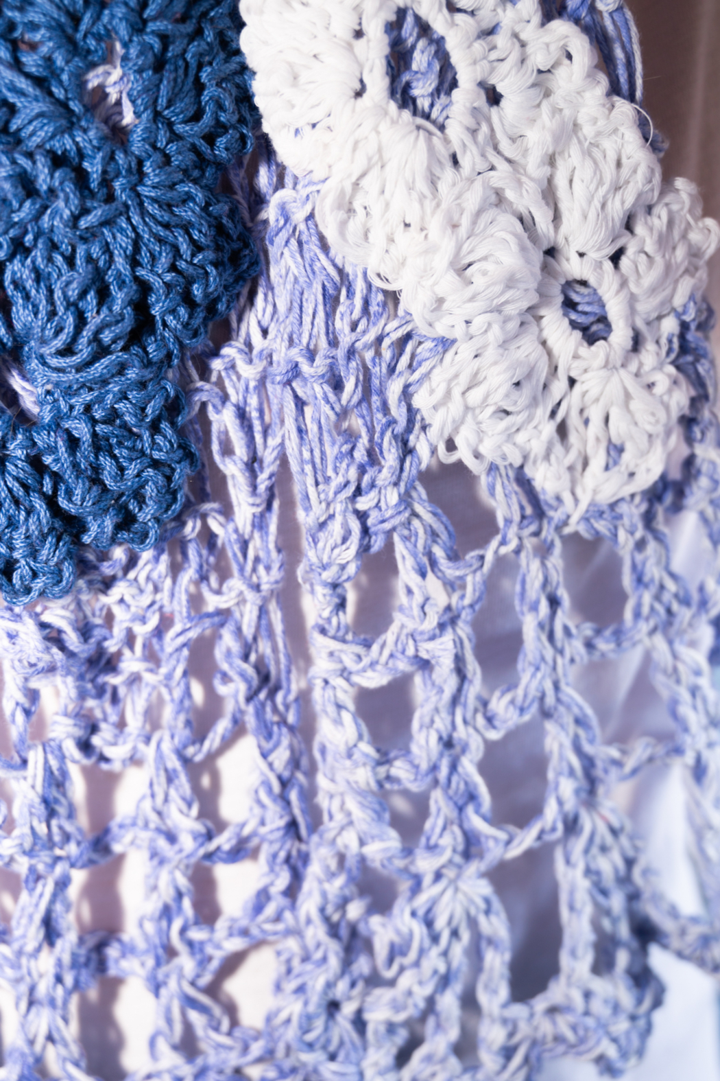 Handmade by CA artist Cotton Denim Knit Scarf - Back Cropped Image