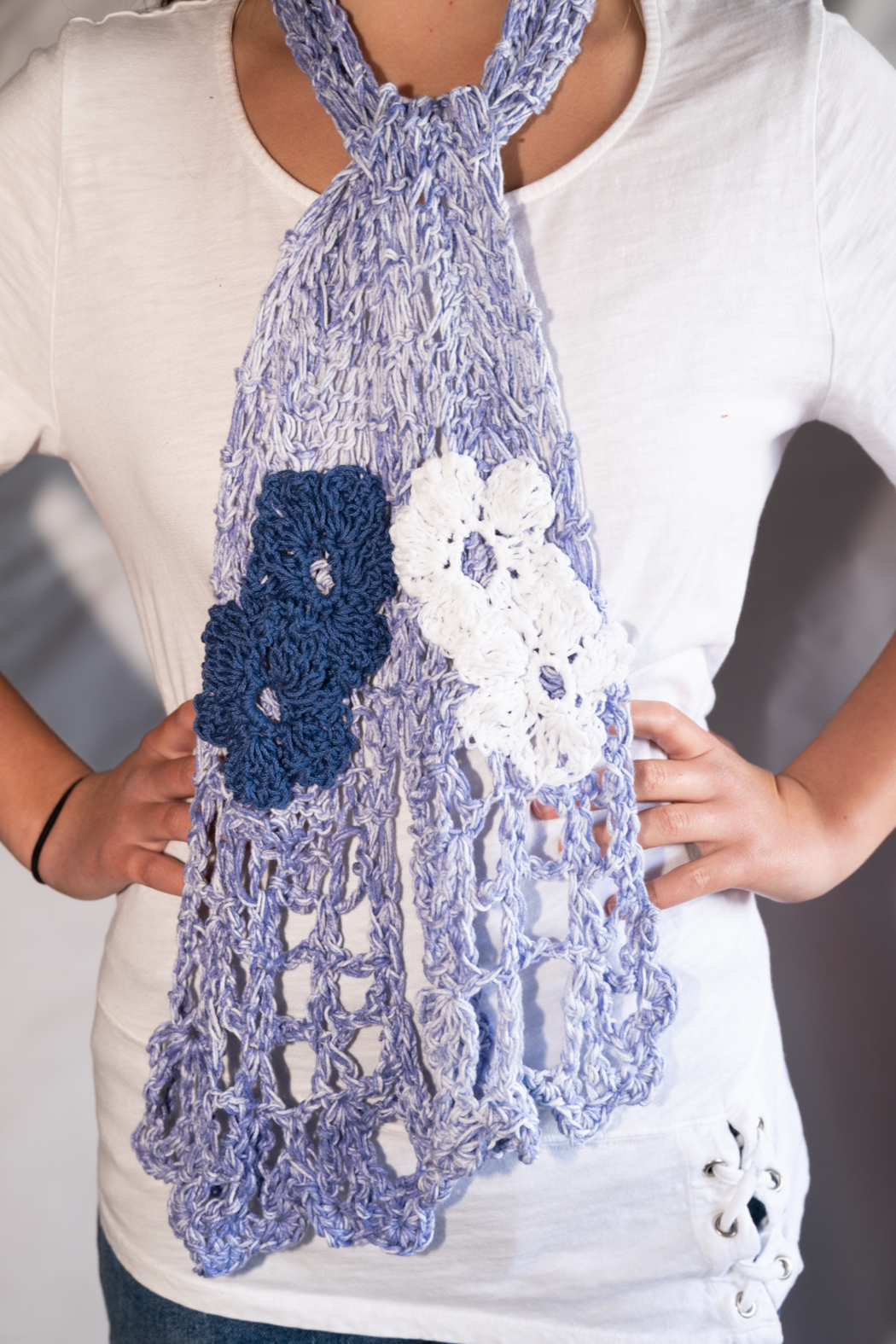 Handmade by CA artist Cotton Denim Knit Scarf - Front Full Image