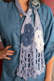 Handmade by CA artist Cotton Denim Knit Scarf - Front cropped