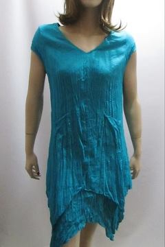 Shoptiques Product: COTTON CRINKLE TURQUOISE DRESS