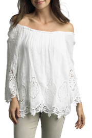 Tempo Paris  Cotton Embroidered Date Night Top - Product Mini Image
