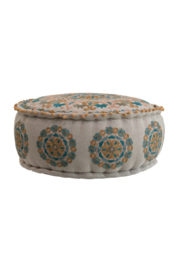 Creative Co-Op Cotton Embroidered Pouf with Pom Poms - Product Mini Image