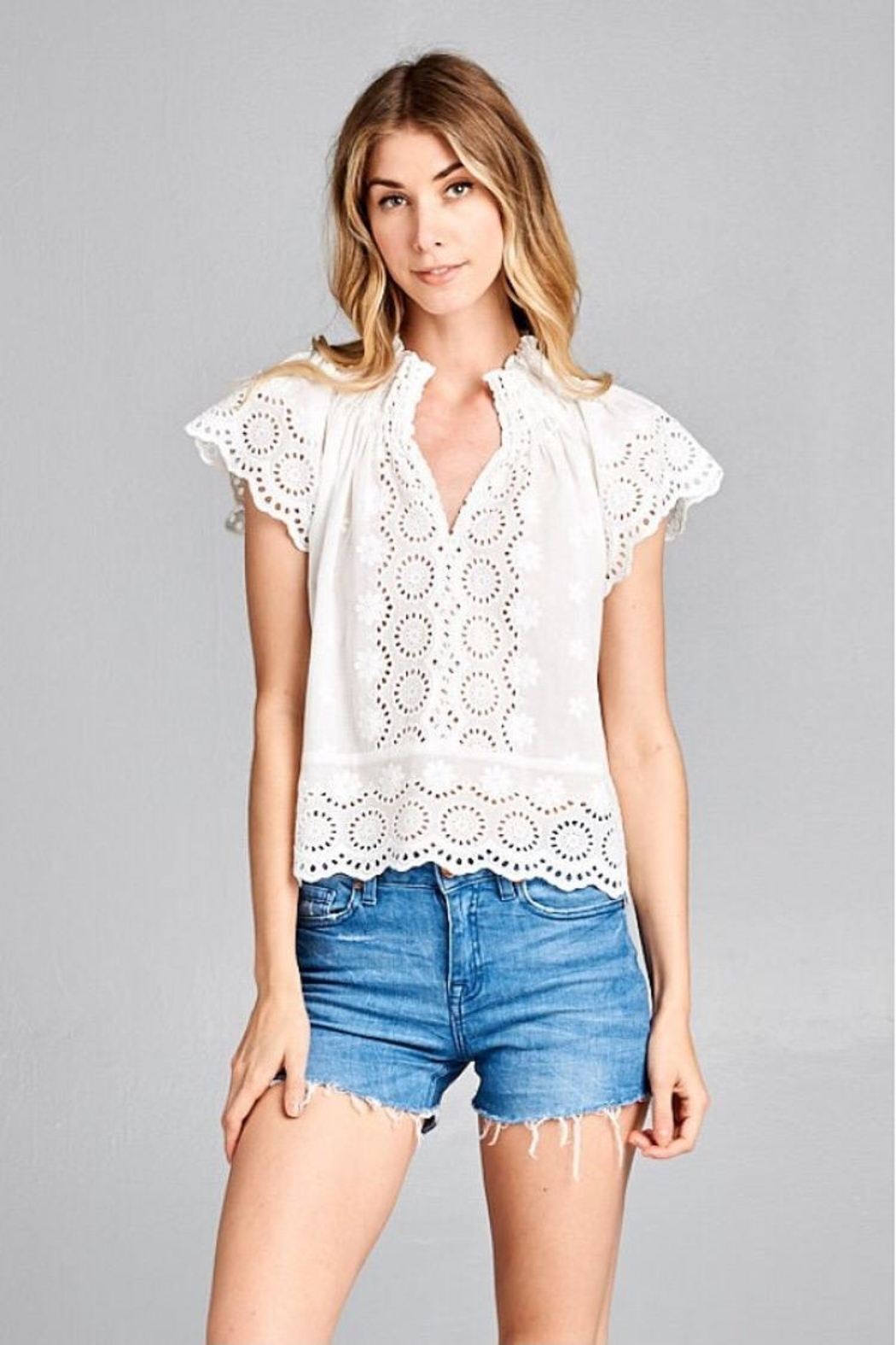 f6253b05172 Ellison Cotton Eyelet Top from Los Angeles by Chikas — Shoptiques