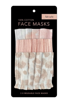 Kitsch Cotton Face Mask 3 Pack Blush - Alternate List Image