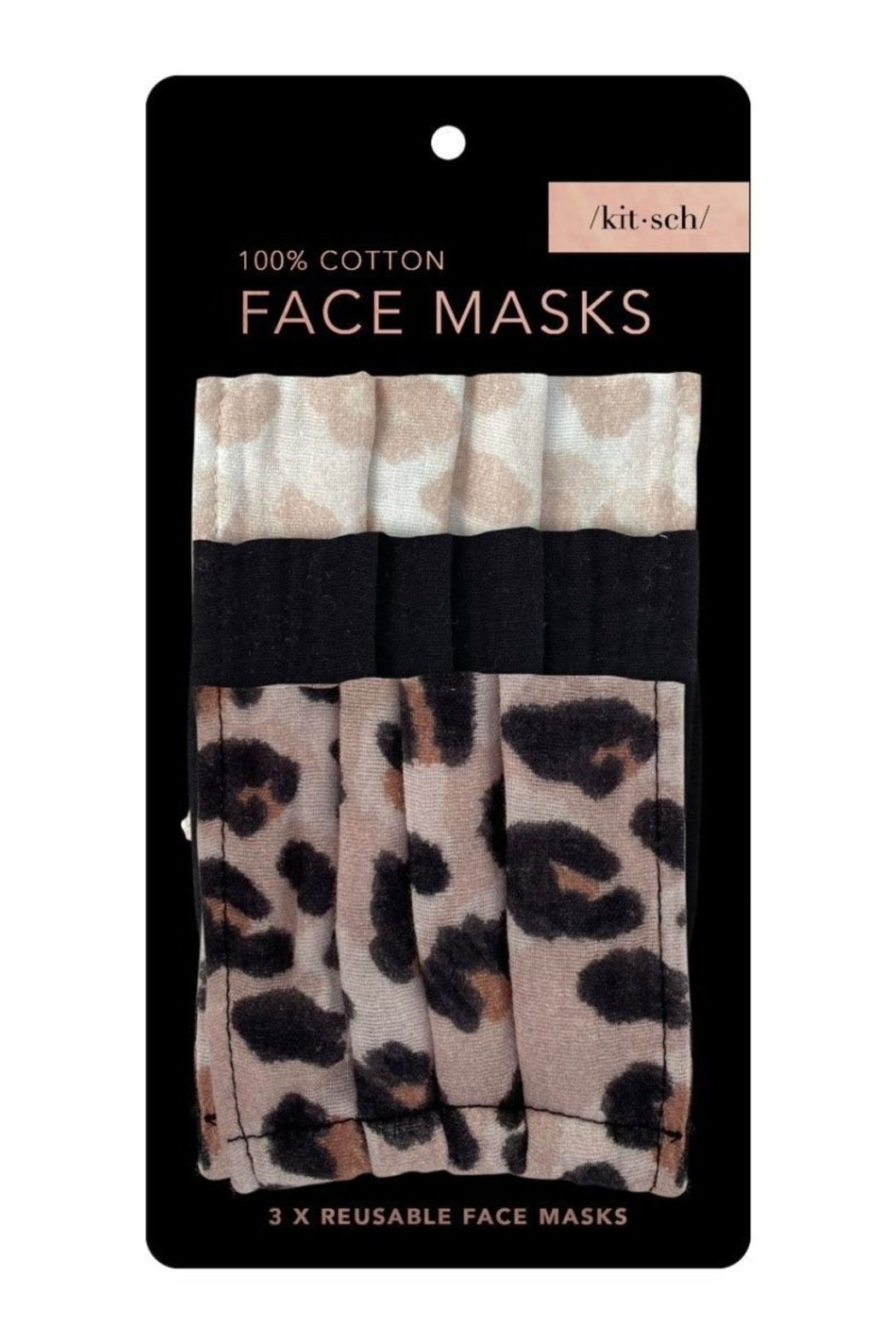 Kitsch Cotton Face Mask 3 Pack Leopard - Main Image