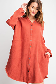 R+D Cotton Gauze Shirt Dress - Product Mini Image