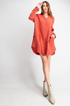 R+D Cotton Gauze Shirt Dress - Alternate List Image