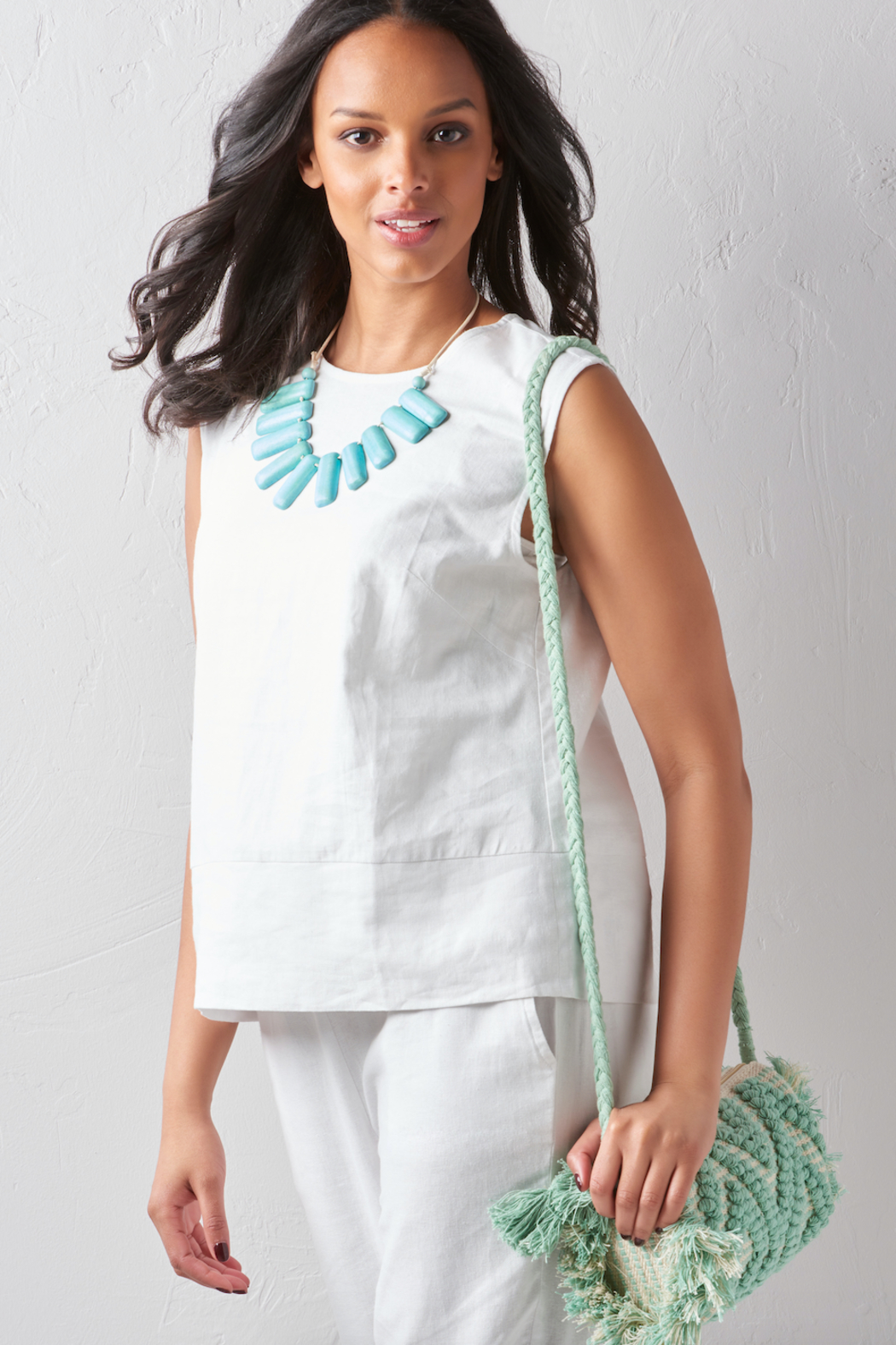 LAsociety Cotton Mint Macrame Crossbody - Front Full Image
