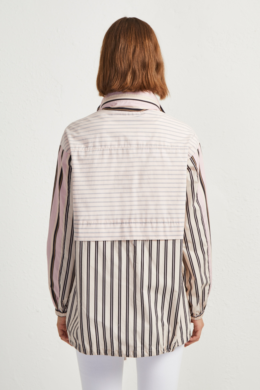 French Connection COTTON MIX STRIPE BOMBER JACKET - Front Full Image