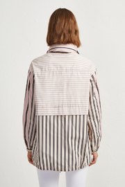 French Connection COTTON MIX STRIPE BOMBER JACKET - Front full body