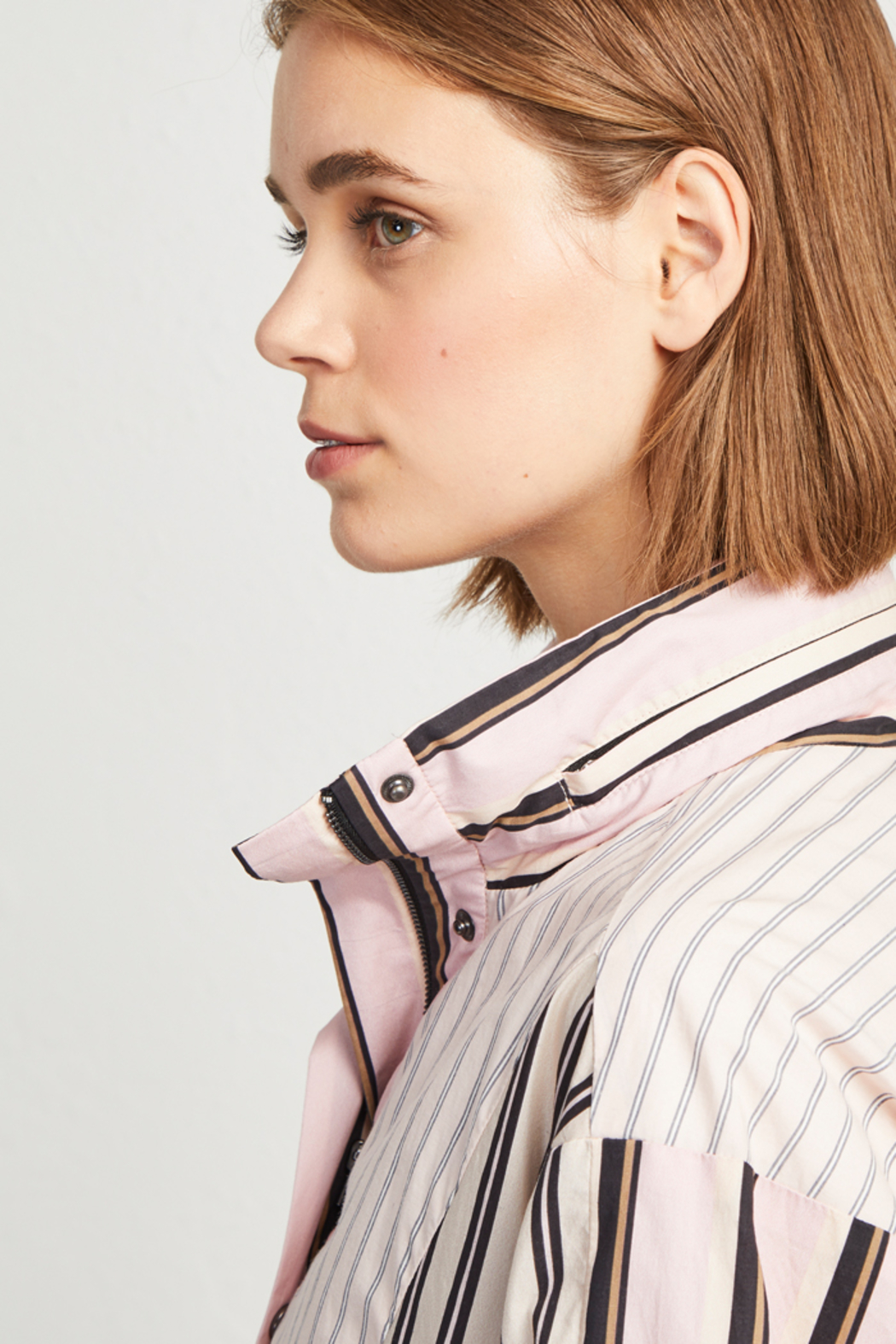 French Connection COTTON MIX STRIPE BOMBER JACKET - Side Cropped Image