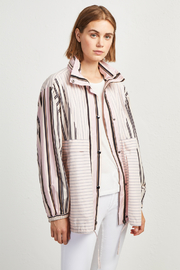 French Connection COTTON MIX STRIPE BOMBER JACKET - Product Mini Image
