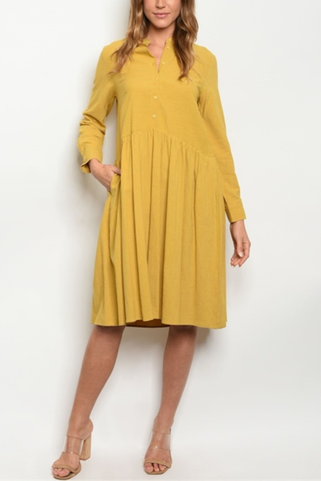 Lyn -Maree's Cotton Mustard Dress - Front Cropped Image