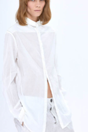 Umit Unal  Cotton Off White Blouse with Gray Stitching - Product Mini Image