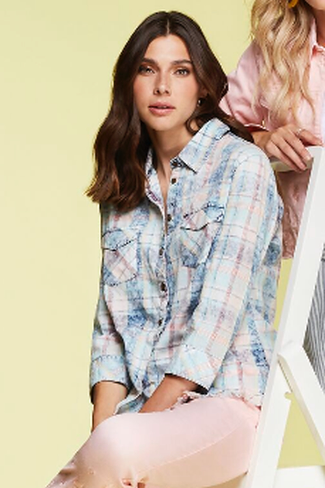 Charlie B. Cotton Plaid Button Up Shirt - Front Cropped Image