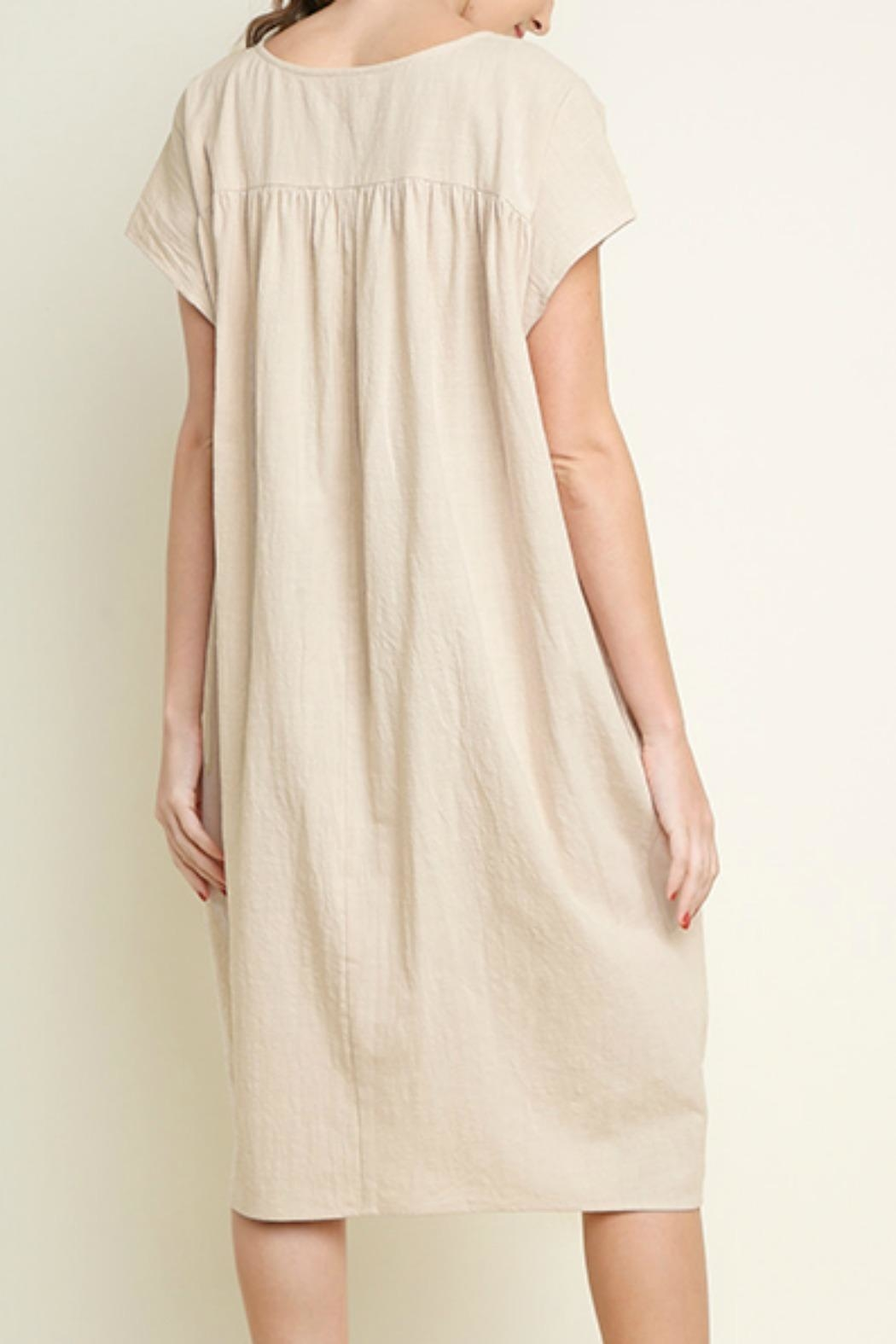 Umgee USA Cotton Pocket Dress - Back Cropped Image