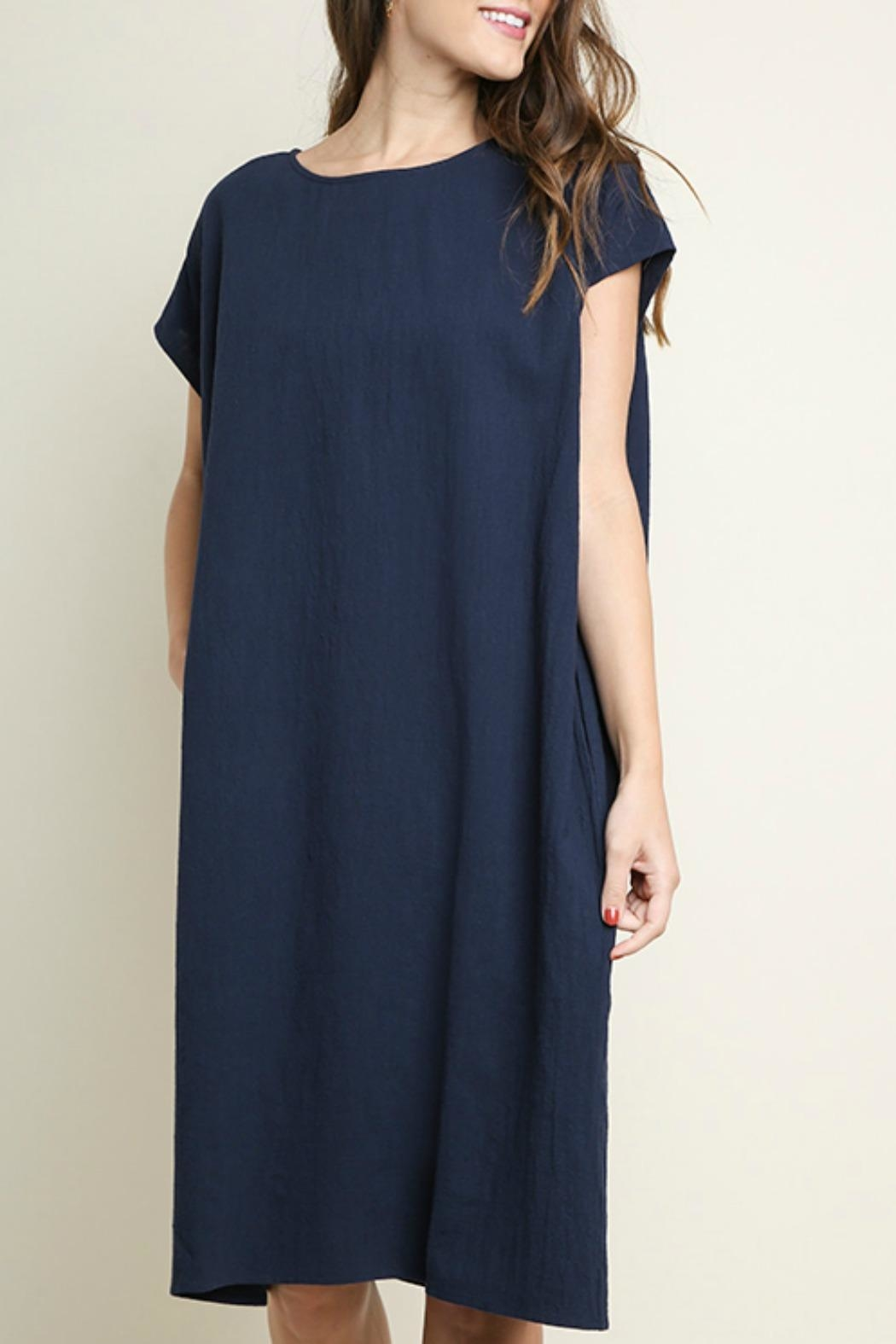 Umgee USA Cotton Pocket Dress - Front Cropped Image