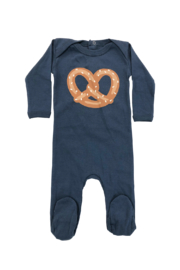Cotton Pompom Baby Pretzel Footie - Infant Sleepwear - Product Mini Image