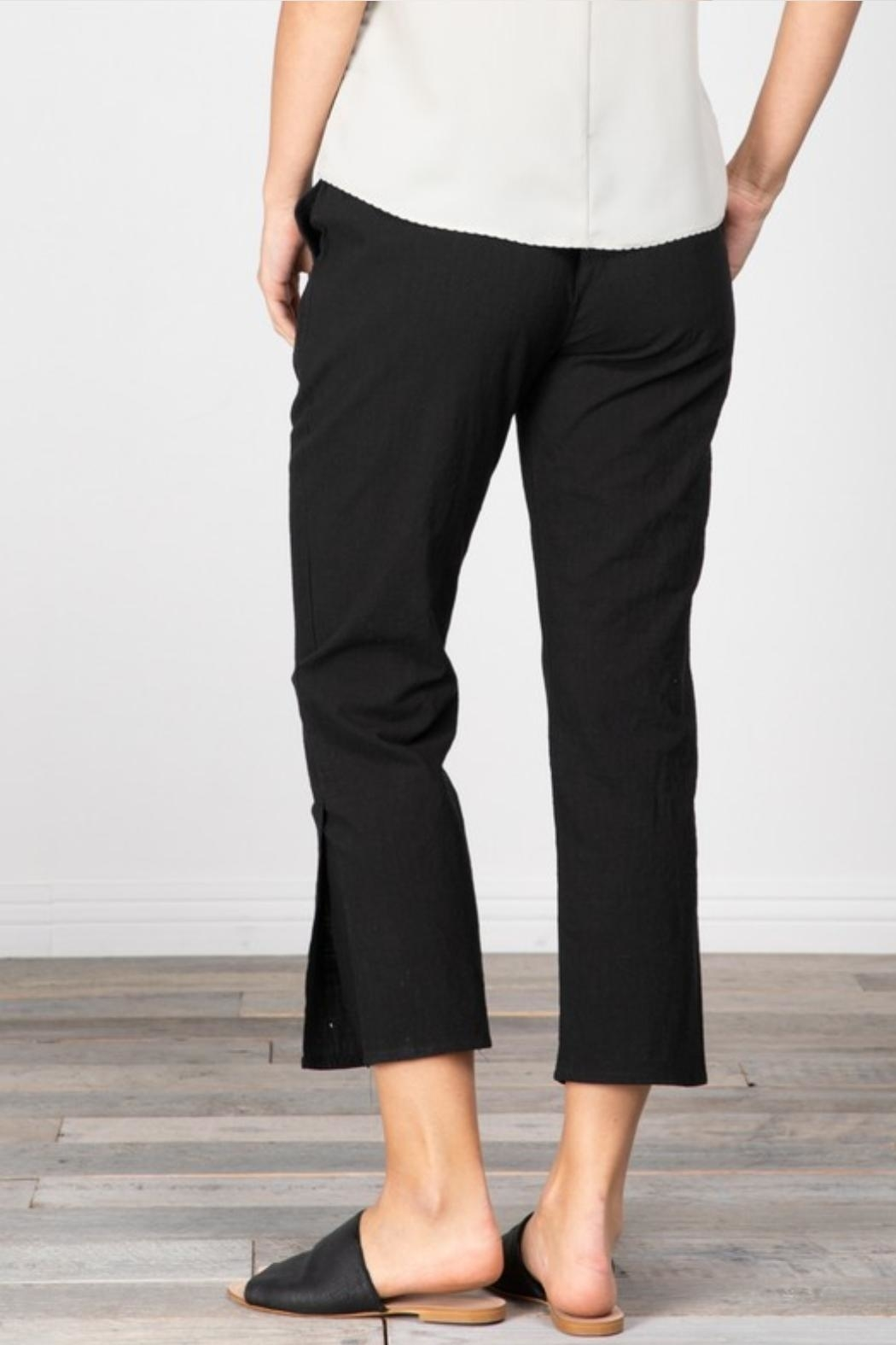 Grade and Gather Cotton Slit Pants - Back Cropped Image