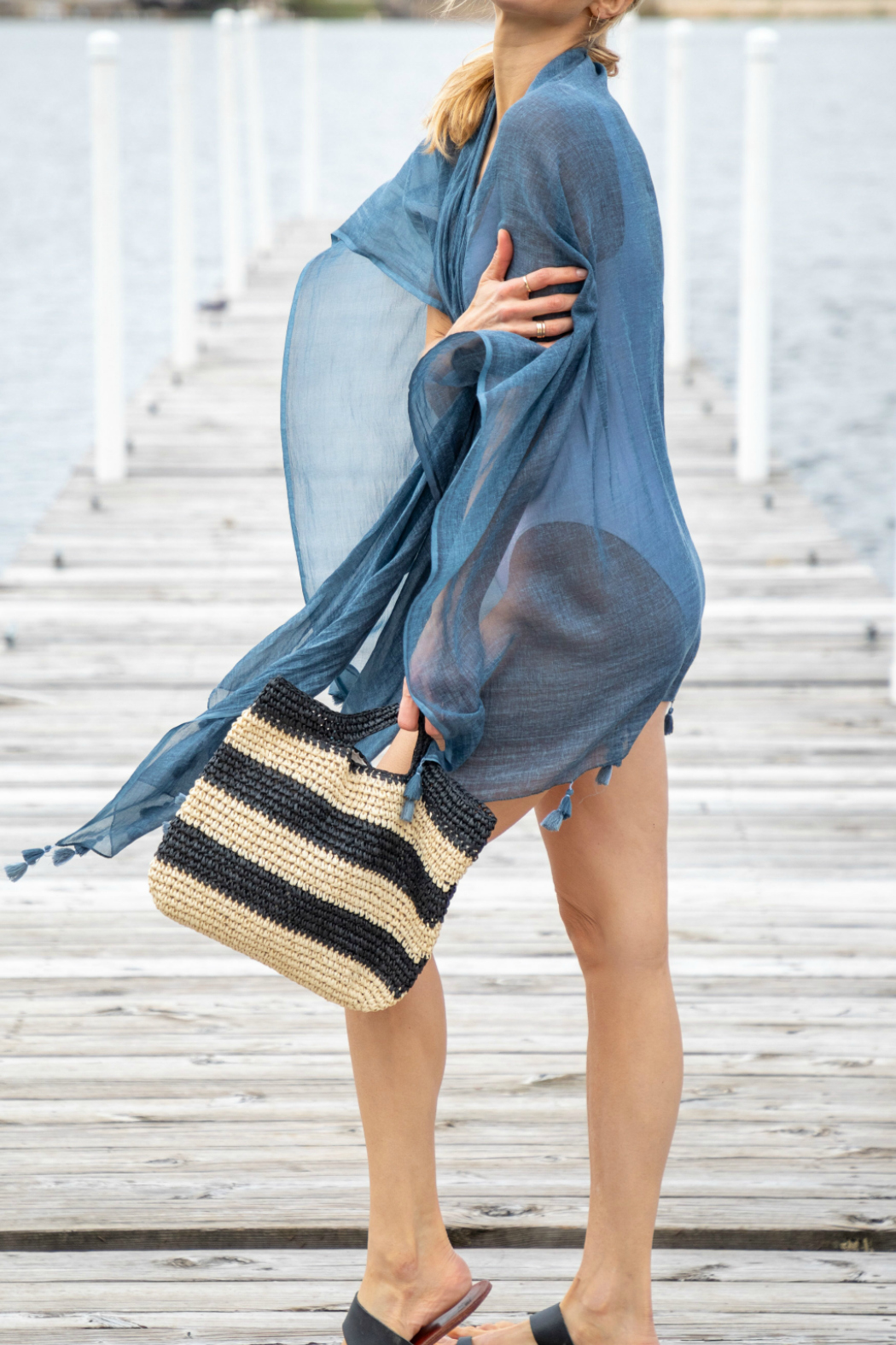 Mer Sea & Co Cotton Tassel Wrap with Matching Bag - Front Full Image