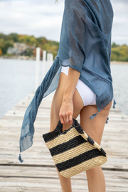 Mer Sea & Co Cotton Tassel Wrap with Matching Bag - Front cropped