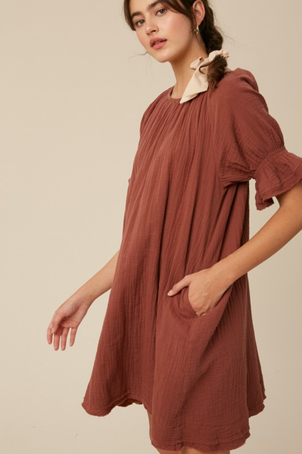 Listicle Cotton Woven Dress - Front Full Image