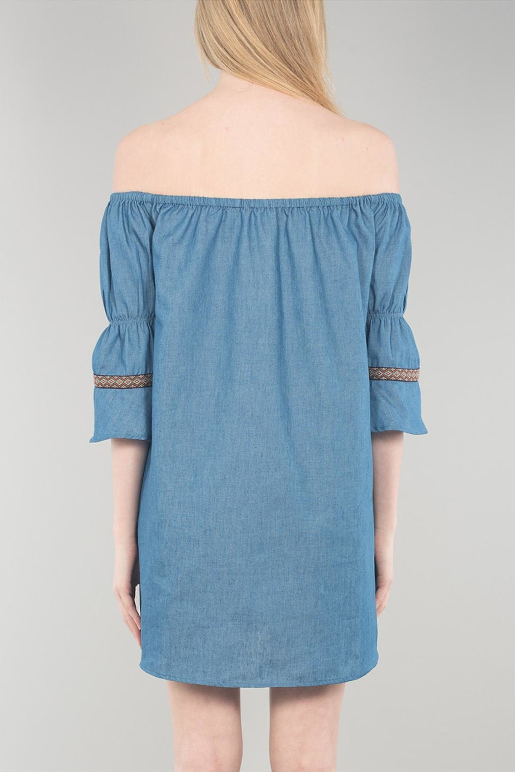 Cotton Bleu Bell Sleeve Dress - Side Cropped Image