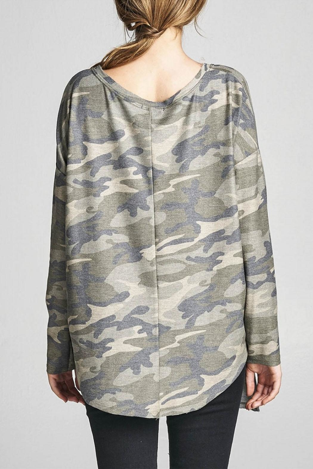 Cotton Bleu Camo Crew Neck Top - Side Cropped Image