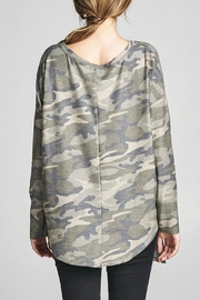 Cotton Bleu Camo Crew Neck Top - Side cropped
