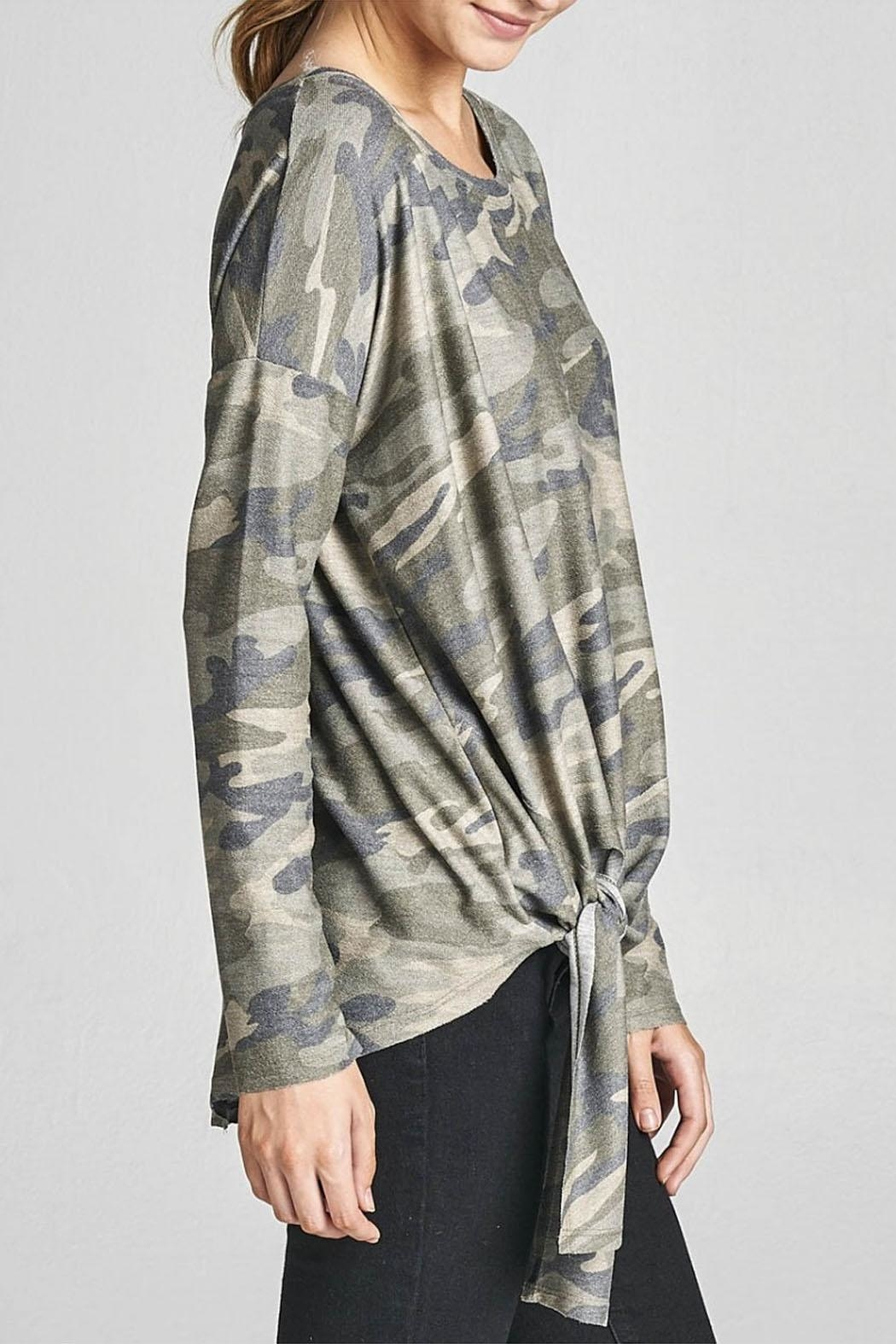 Cotton Bleu Camo Crew Neck Top - Front Full Image