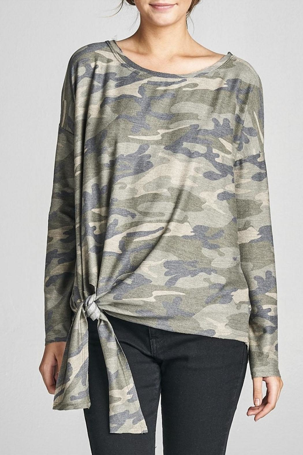 Cotton Bleu Camo Crew Neck Top - Main Image